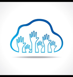 Group of up hands in the cloud vector image vector image