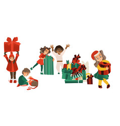 set of kids children with christmas presents vector image