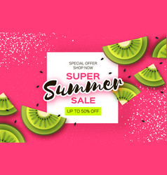 Slice of kiwi top view kiwi super summer sale vector