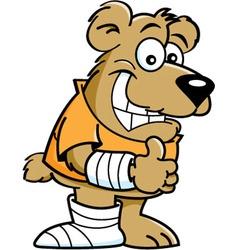 Cartoon bear wearing a cast vector image vector image