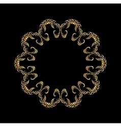 Golden floral pattern on black vector image