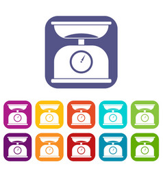 Kitchen scales icons set vector