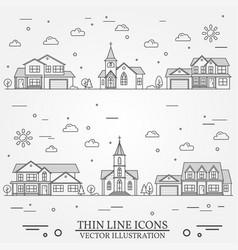 neighborhood with homes on white vector image