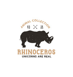 rhino wild animal logo template stock vector image