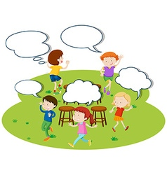 Children playing music chairs in the park vector image vector image