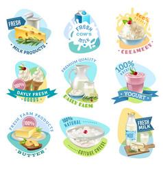 milk products emblems set vector image