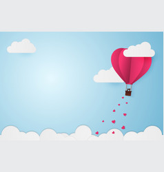 paper style love of valentine day balloon flying vector image