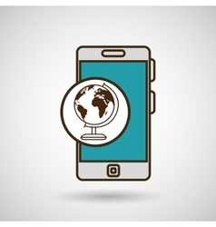 smartphone blue map isolated icon design vector image