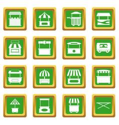 Street food truck icons set green vector