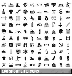 100 sport life icons set simple style vector image