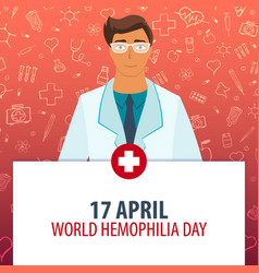 17 april world hemophilia day medical holiday vector