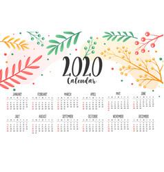 2020 flower and leaves style calendar design vector