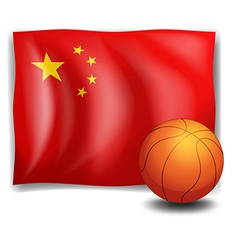A ball in front of the Chinese flag vector