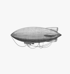 Airship or zeppelin and dirigible or blimp vector