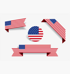 american flag stickers and labels vector image