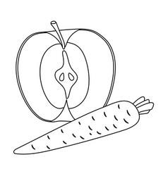 An apple and a carrot healthy eating for athletes vector