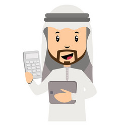 Arab men with calcualtor on white background vector