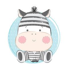 Baby zebra in jail motif vector