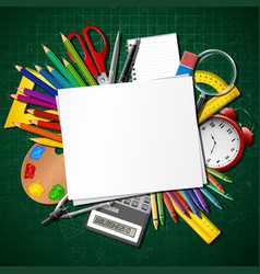back to school school supplies and blank paper vector image