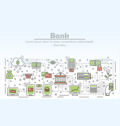 Bank advertising concept flat line art vector