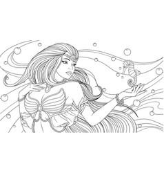 beautiful girl sea princess vector image
