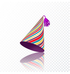 Birthday hat with colorful stripes texture vector