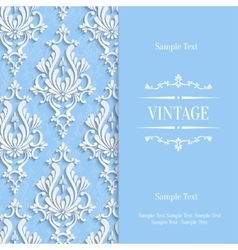 Blue 3d Vintage Invitation Card Template vector
