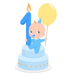 Blue birthday cake and baby boy vector