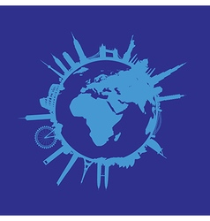 blue round cityscape vector image