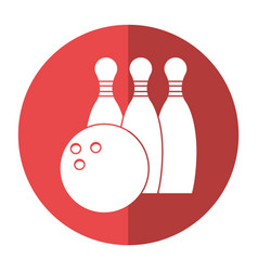 Bowling ball pin sport shadow vector