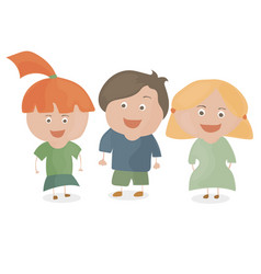 boy and two girls funny cartoon and teen vector image