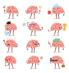 Brain emotion cartoon brainy character vector