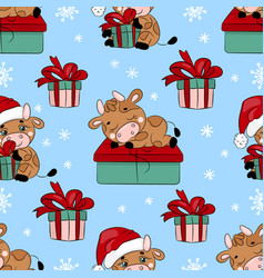 bull and gift cartoon seamless pattern vector image