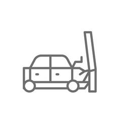 car hit into a pole transportation crash vector image