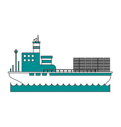 cargo ship with containers icon image vector image vector image