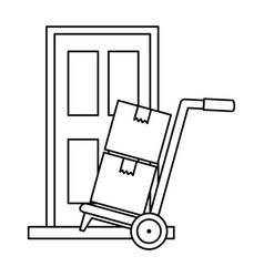 Cart with boxes and door delivery service vector