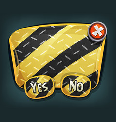 Cartoon emergency sign with buttons for ui game vector
