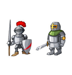 cartoon medieval knight with shield and sword vector image