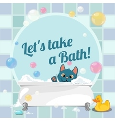 Cartoon of a kitten taking a bath vector image