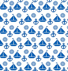 Cartoon seamless pattern with sail boats anchors vector image