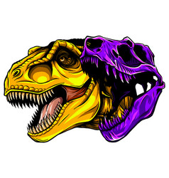 Cartoon t-rex who was very angry staring and vector