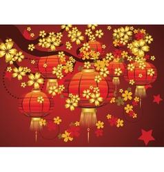 Chinese Lantern with Sakura Branch8 vector