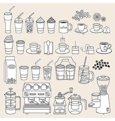 Coffee doodle icon style vector