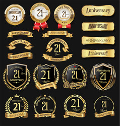 Collection anniversary golden logotype vector