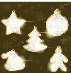 collection golden winter labels vector image