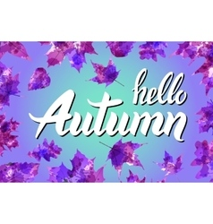 Cool fresh blue Hello Autumn design with elegant vector image