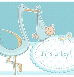 Cute baboy announcement card with stork vector