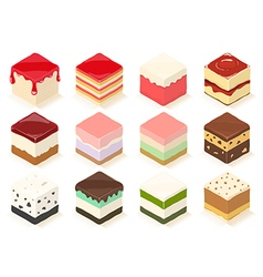 Cute cube cakes and jelly vector