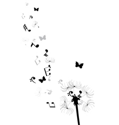 dandelion notes butterflies vector image
