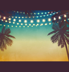 Decorative holiday lights beach background vector